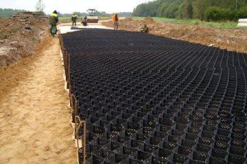 Строительство дорог с георешеткой